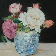 roses in a willow pattern jug