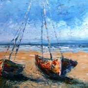 Irish Art, Beached Boats,