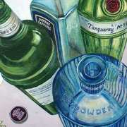 Blue and Green Gin Bottles
