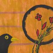 Blackbird with Flowers