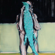 Figure Holding Lizard