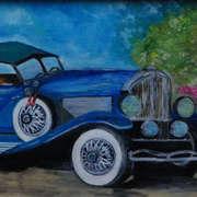Blue Dusenberg Classic Car