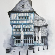 Dinan, Brittany, Pen, ink, watercolour