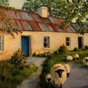 Sheep and Cottage