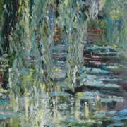 The mirror pond,wisteria and water lillies