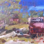 Art 'Red Truck, Lightning Ridge, Australia'