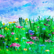 Primula Meadow, Acrylic