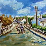 A Summer Stroll,(1930's or 40's) in Glynn village,County Antrim,painted with consent from Claire Quigley