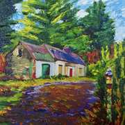 Abandoned cottage at Lough Attorick, Woodford, Co.Galway, painted with consent from a photograph by Rachel Dubber, Artist