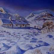 Blackrock Cottage, Glencoe, Scottish Highlands in Snow, (painted withkind permission from a photo by Barbara Jones, PhotosEcosse)