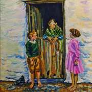 Connemara Grandmother at a Cottage Door with Grandchildren. Painted from a 1930's Lantern Slide by Branson De Cou. Reference photo courtesy of Special Collections, University of California, Santa Cruz