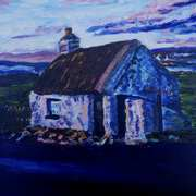 Cottage on Quarterland Road, Islandmagee, painted with consent from a photograph by Robin Parkes taken in 1973
