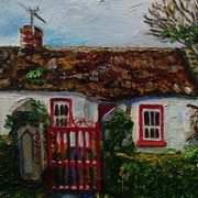 Cottage on the Derrykerrib Road, Newtownbutler, County Fermanagh in Early Spring, Painted with kind permission from a photograph by the Ulster Architectural Heritage Society