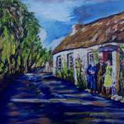 Curious Glances, Cottages on the Low Road, Islandmagee, painted from a vintage photograph by the late Arthur Harrison, with consent from his grandson Mike Harrison