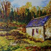 Deserted Woodland Cottage Tipperary (from a photograph by Madeleine Hogan with permission).