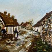 Doing the Chores,Back Street,Glynn,County Antrim,painted from a vintage postcard