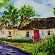 Fallen Thatch, Sallon Road, Irvinestown, Fermanagh, painted with kind permission from a photograph by Ulster Architectural Heritage Society