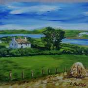 Farm near Larne Lough, Islandmagee, painted from a vintage photograph by the late Arthur Harrison, with consent from his grandson, Mike Harrison
