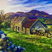 Old Mourne Homestead at Sunrise (from a photograph by Leslie Hanthorne with permission).