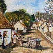 Selling Fish in Old Inver Village,Larne,County Antrim,painted from the R. Welch postcard collection