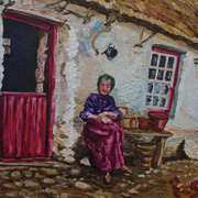 Taking the Air Elderly Lady at her Smallholding Glens of Antrim (Painted from a photograph dated 1906)