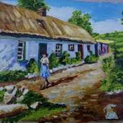 Thatched Cottages on a Lane islandmagee, painted from a vintage photograph by the late Arthur Harrison, with consent from his grandson, Mike Harrison