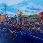 What Wind Bitter and Great? Storm Demolished Houses on the Shankill Belfast )from a photograph by BBC TV Presenter, Barra Best)