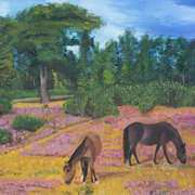 Irish Art, Horses grazing,