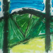 view through trees (sketch), oilbar