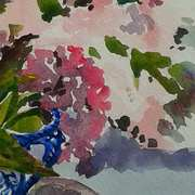 Hydrangeas In Blue Jug