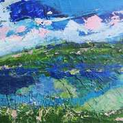 Landscape In Pink, Green And Blue II