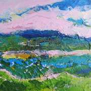 Landscape In Pink, Green And Blue I