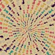mid-mod Trippy Cats Mandala