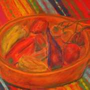 Chili peppers and tomatoes still life study