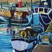 Irish Art, Boats at Buncrana Pier Co Donegal,