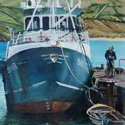 Irish Art, Fishing Trawler at Downings Pier Co Donegal,