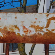 Rusty panel (canal,Dublin)