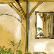 Mirror, Kilcolgan, Watercolour, gouache