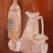 Wine bottle and jugs